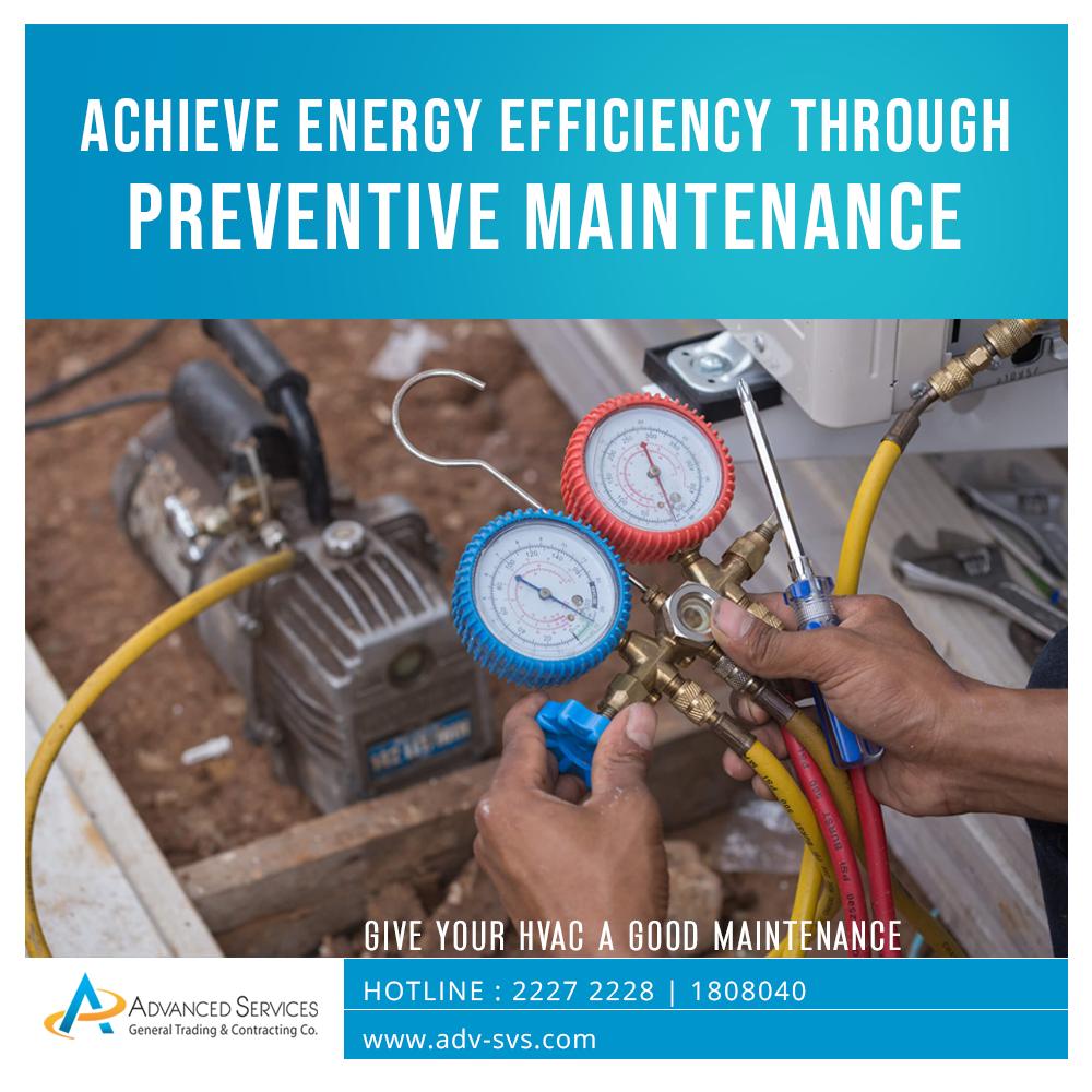 Achieve energy efficiency through preventive maintenance